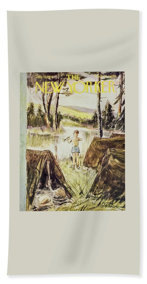 Boy Beach Sheet featuring the painting New Yorker July 11 1959 by Perry Barlow
