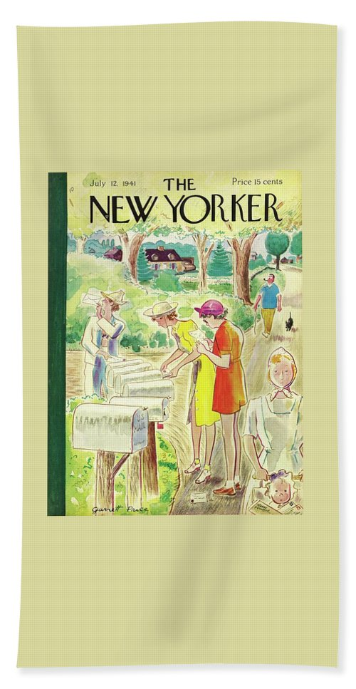 Country Beach Sheet featuring the painting New Yorker July 12 1941 by Garrett Price