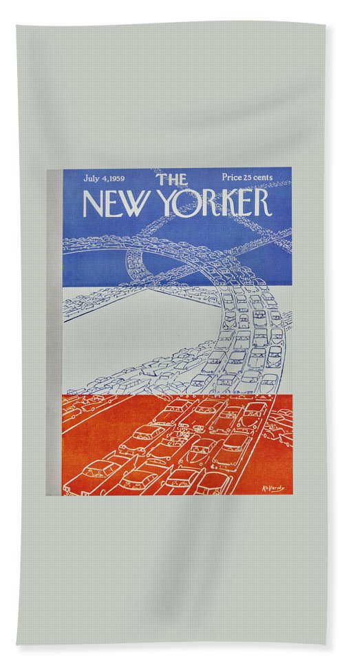 Bumper To Bumper Beach Sheet featuring the painting New Yorker July 4 1959 by Anatole Kovarsky