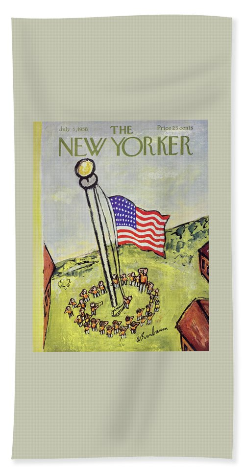 Children Beach Sheet featuring the painting New Yorker July 5 1958 by Abe Birnbaum