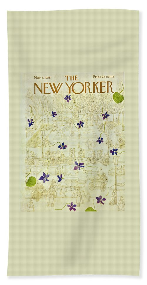 Flowers Beach Sheet featuring the painting New Yorker May 3 1958 by Ilonka Karasz