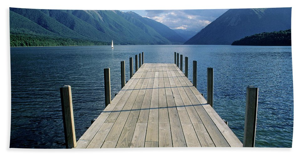 New Zealand Beach Towel featuring the photograph New Zealand Dock by Steve Williams