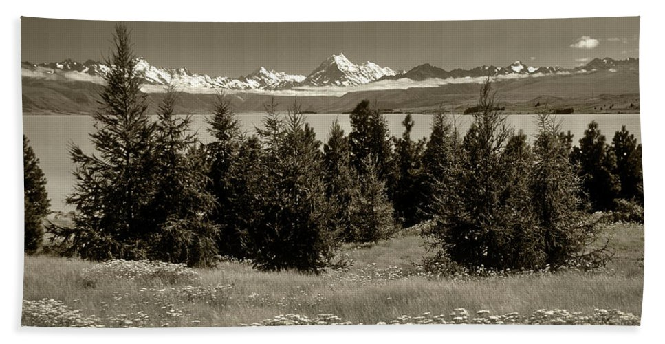 New Zealand Beach Towel featuring the photograph New Zealand Mountains by Steve Williams