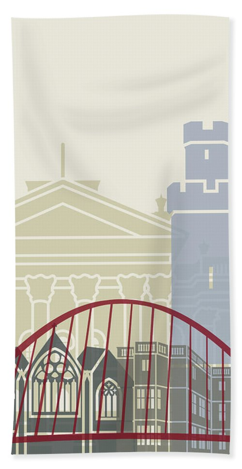 Europe Beach Towel featuring the painting Newcastle Skyline Poster by Pablo Romero