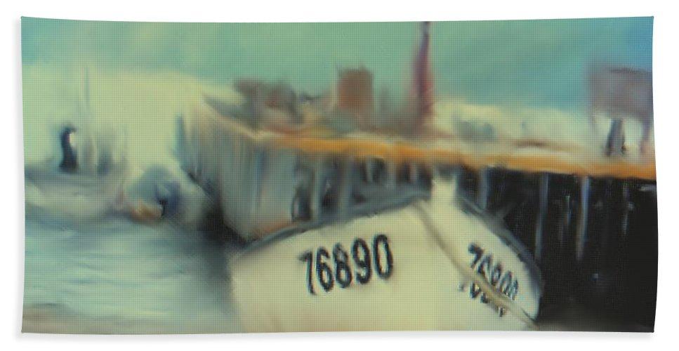 Newfoundland Beach Towel featuring the digital art Newfoundland Fishing Port Impressions by Ian MacDonald