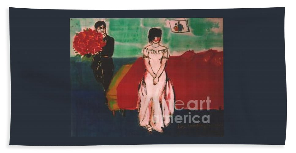 Chinese Beach Towel featuring the painting Newly Weds by Meihua Lu