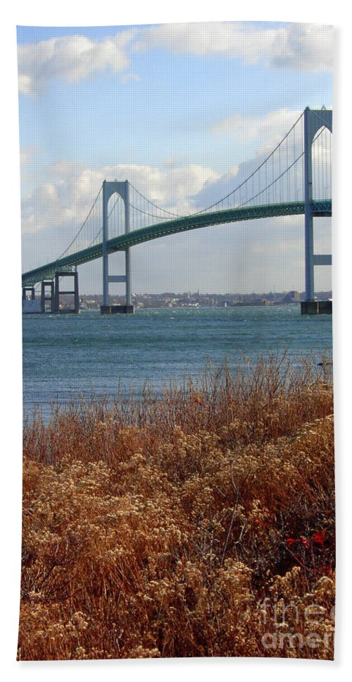 Newport Bridge Beach Towel featuring the photograph Newport Bridge Newport Rhode Island by Mike Nellums