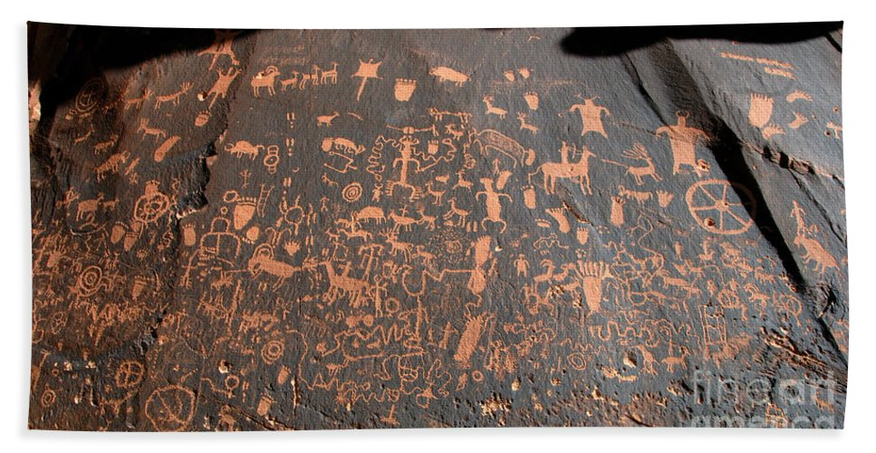 Newspaper Rock State Park Utah Beach Towel featuring the photograph Newspaper Rock by David Lee Thompson