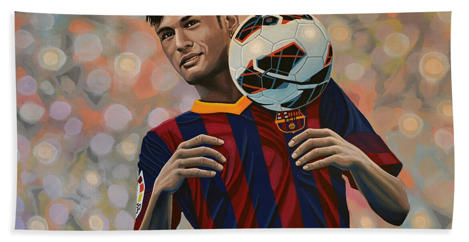 Neymar Beach Towel featuring the painting Neymar by Paul Meijering