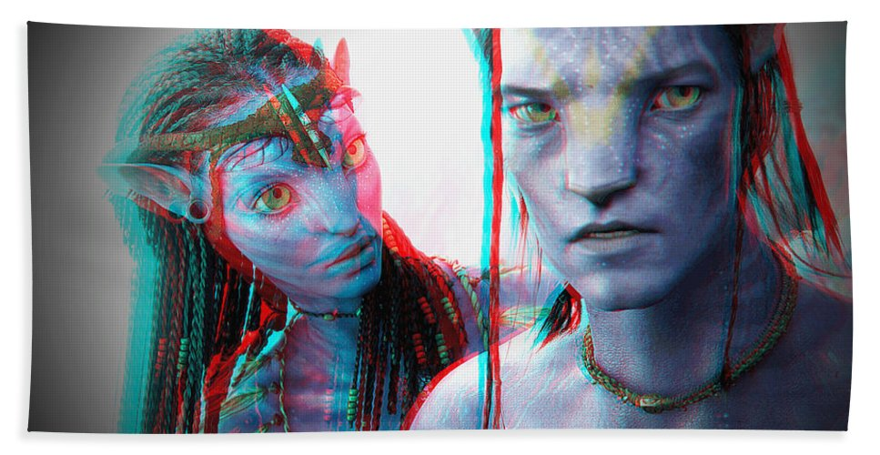 3d Beach Towel featuring the photograph Neytiri And Jake Sully - Use Red-cyan 3d Glasses by Brian Wallace