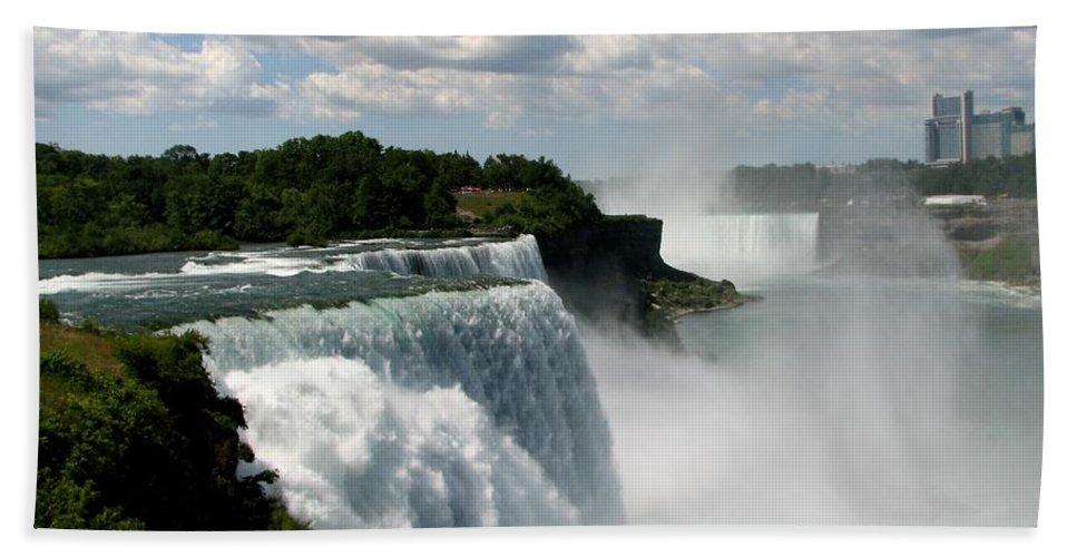 Niagara Falls Beach Towel featuring the photograph Niagara Falls American And Canadian Horseshoe Falls by Rose Santuci-Sofranko