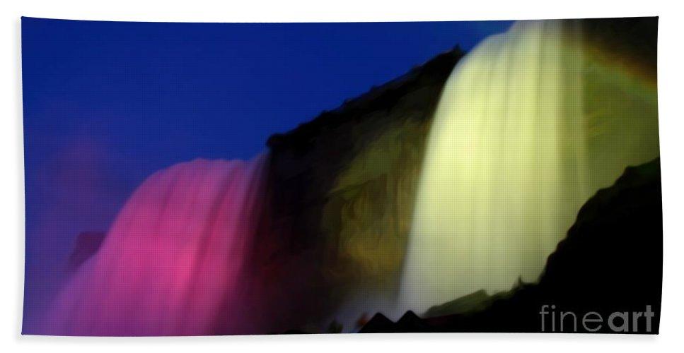 Bridal Veil Falls Beach Towel featuring the photograph Niagara Falls Nightly Illumination by Rose Santuci-Sofranko