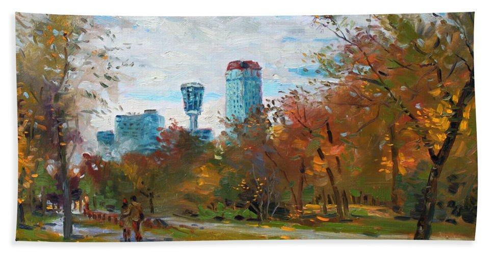 Niagara Falls Park Beach Towel featuring the painting Niagara Falls Park by Ylli Haruni