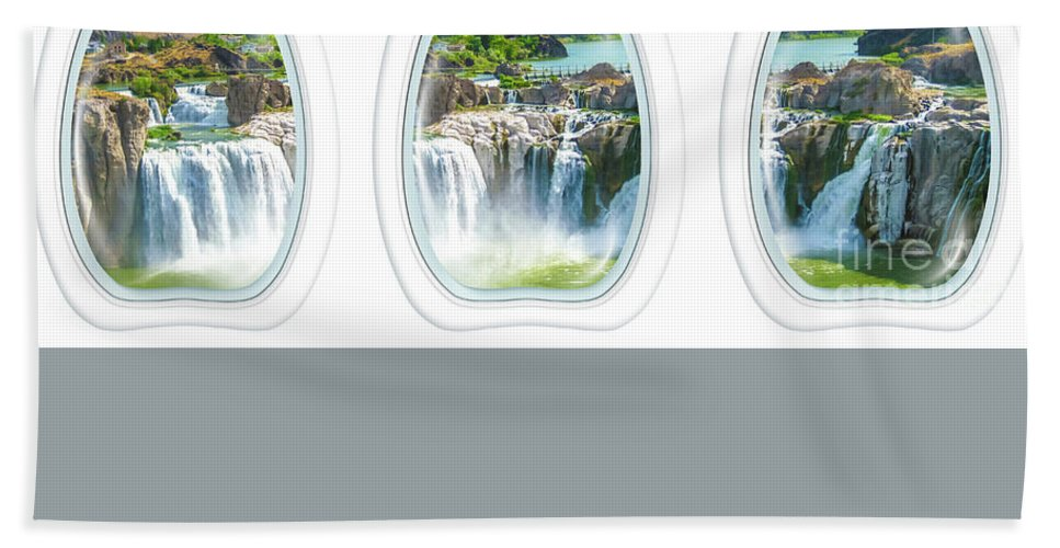 Waterfalls Beach Towel featuring the photograph Niagara Falls Porthole Windows by Benny Marty