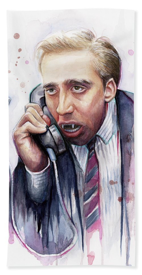 Nicolas Cage Beach Towel featuring the painting Nicolas Cage A Vampire's Kiss Watercolor Art by Olga Shvartsur