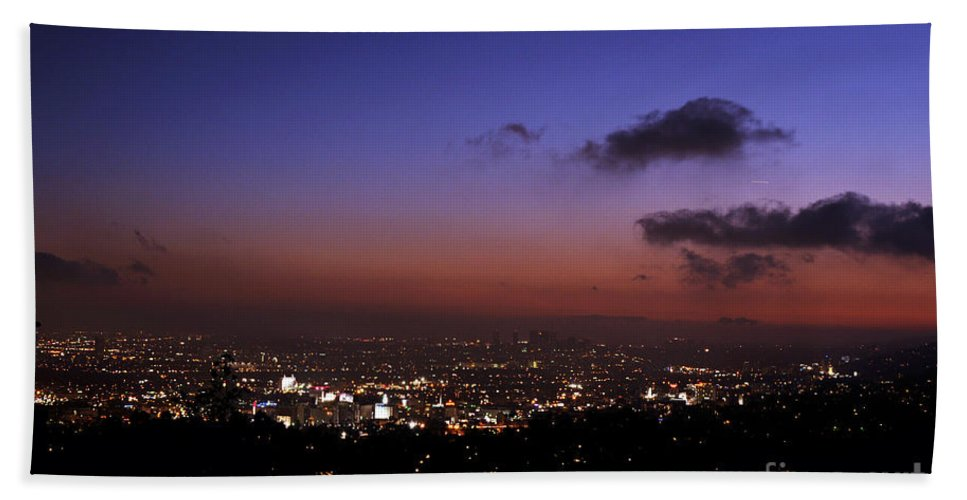 Clay Beach Towel featuring the photograph Night At Griffeth Observatory by Clayton Bruster