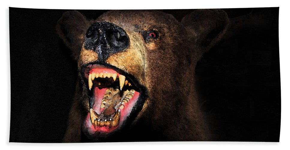 Bear Beach Towel featuring the painting Night Attack by David Lee Thompson