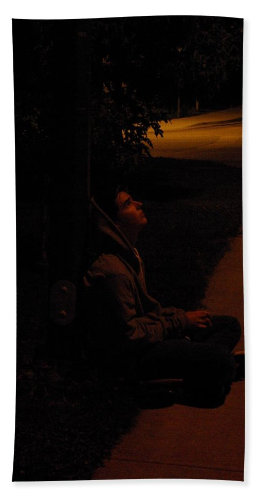 Night Beach Towel featuring the photograph Night Boy by Cindy Johnston