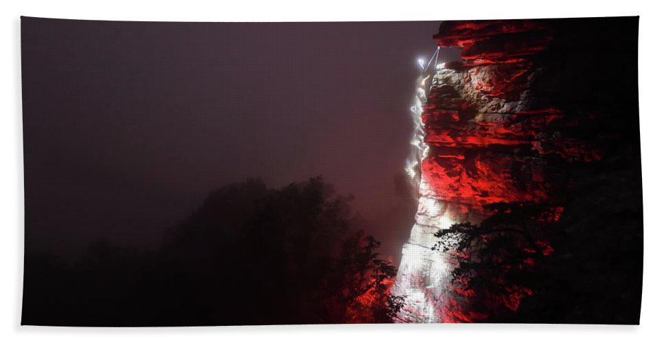 New River Gorge Beach Towel featuring the photograph Night Climbing In The Fog by Jeremy Clinard