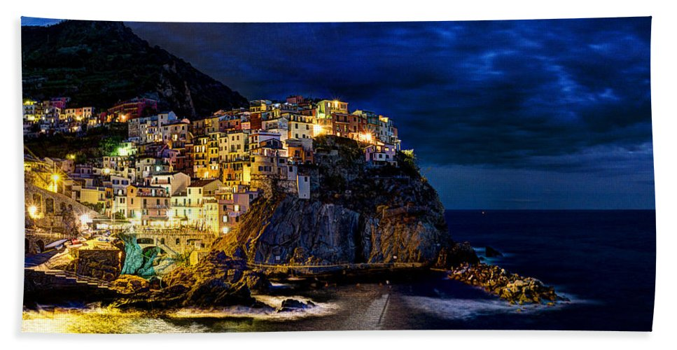 Manarola Beach Towel featuring the photograph Night Comes To Manarola by Weston Westmoreland