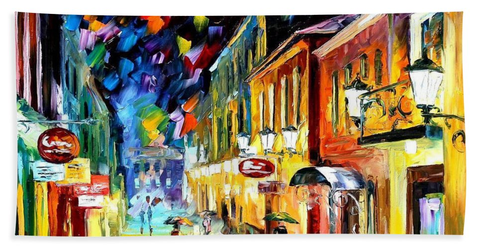 Art Gallery Beach Towel featuring the painting Night Etude - Palette Knife Oil Painting On Canvas By Leonid Afremov by Leonid Afremov