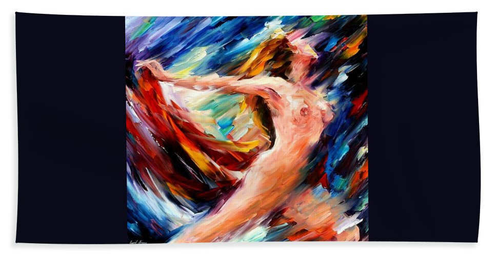 Nude Beach Towel featuring the painting Night Flight by Leonid Afremov