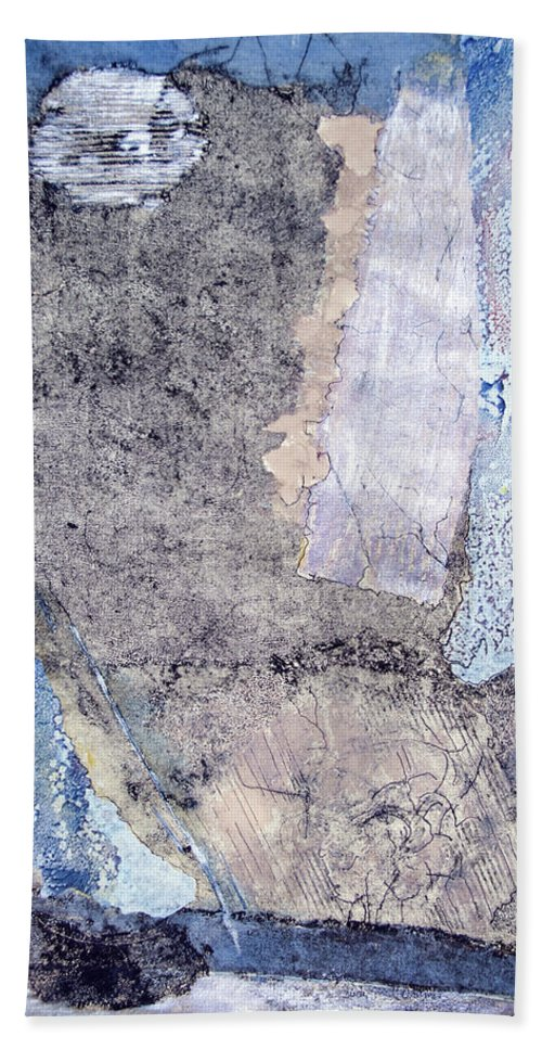 Intaglio Print With Acrylic Beach Towel featuring the painting Night Images by Judith Ghetti Ommen