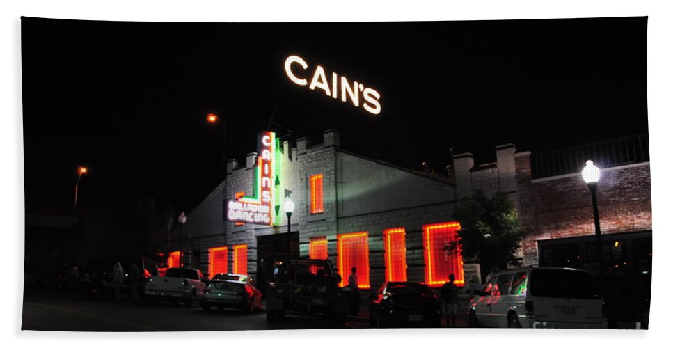 Cain's Ballroom Beach Towel featuring the photograph Night Life by Terry Anderson
