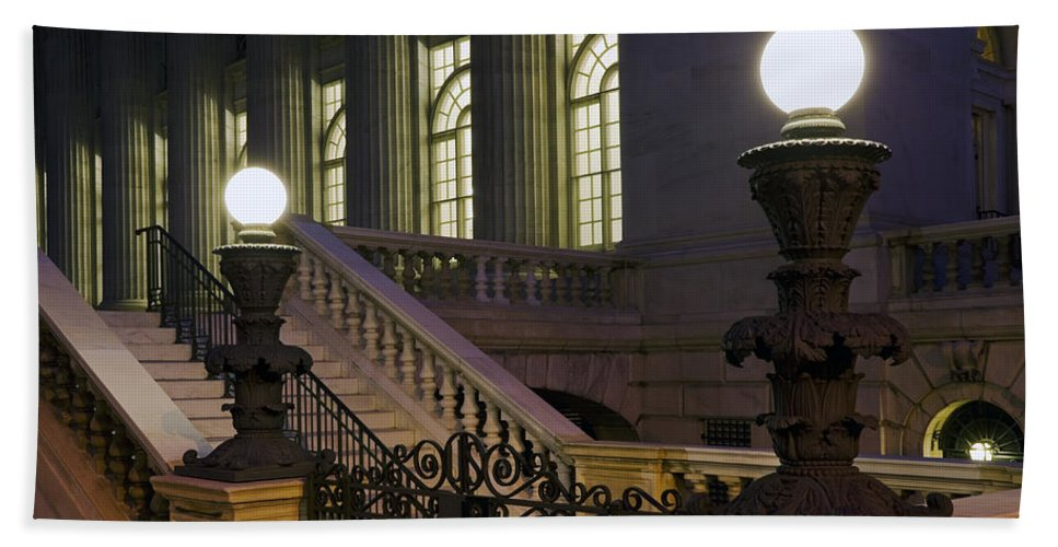 Architecture Beach Towel featuring the photograph Night Light by Kelley King