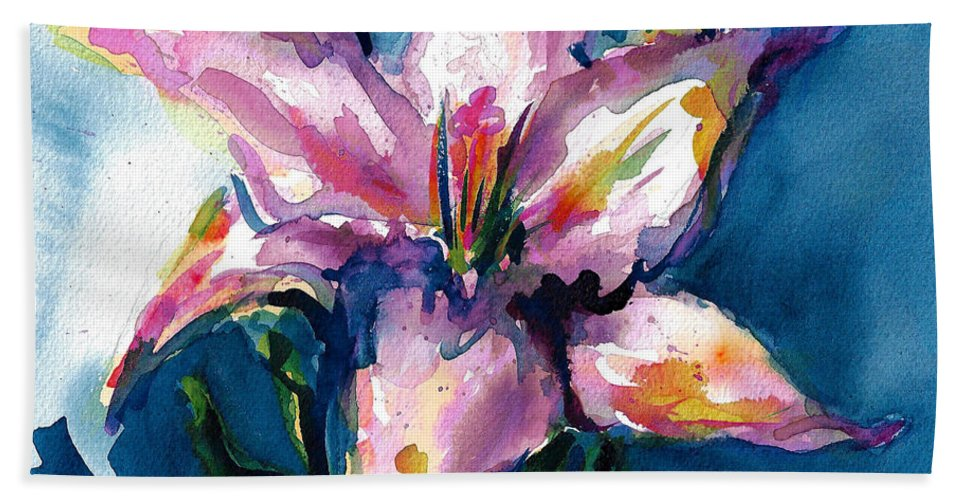 Pink Lily Beach Towel featuring the painting Night Lily by Jacki Kellum
