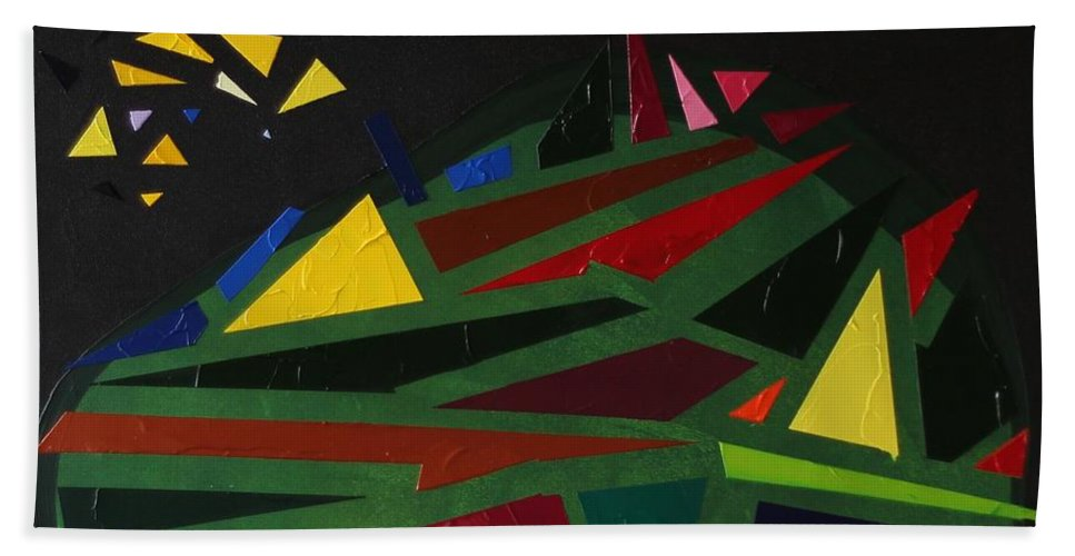 Night Beach Towel featuring the painting Night On The Green Fractures And Lights by Valerie Catoire