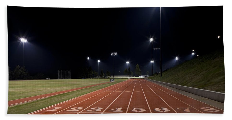 Sports Beach Towel featuring the photograph Night Time Run by Kelley King