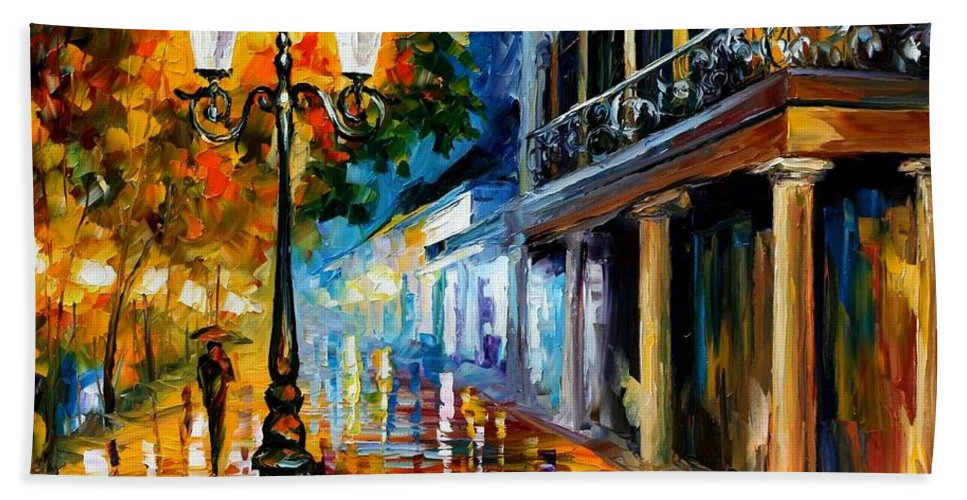 Afremov Beach Towel featuring the painting Night Transformation by Leonid Afremov
