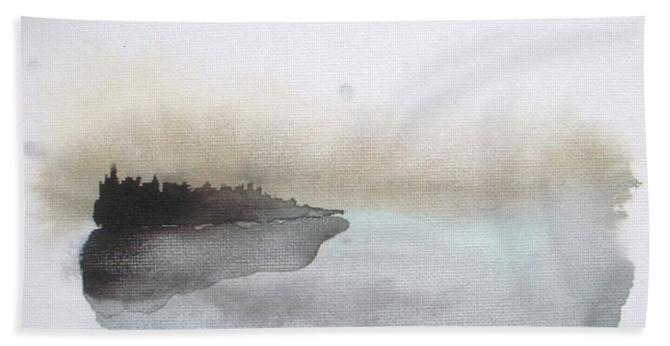 Seascape Beach Towel featuring the painting Nightfall On The Lake by Vesna Antic