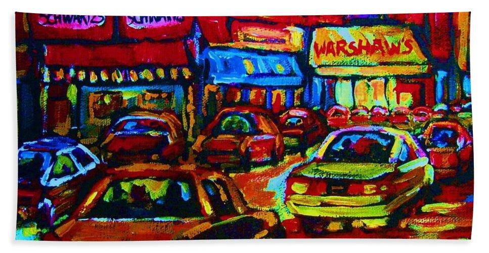 Schwartzs And Warshaws Beach Towel featuring the painting Nightlights On Main Street by Carole Spandau