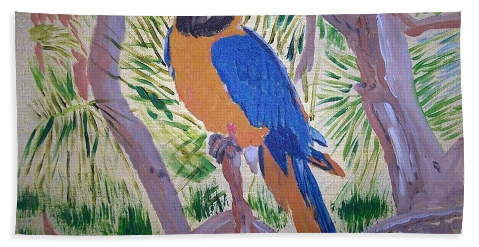 Bird Beach Towel featuring the painting Nikki by Richard Le Page