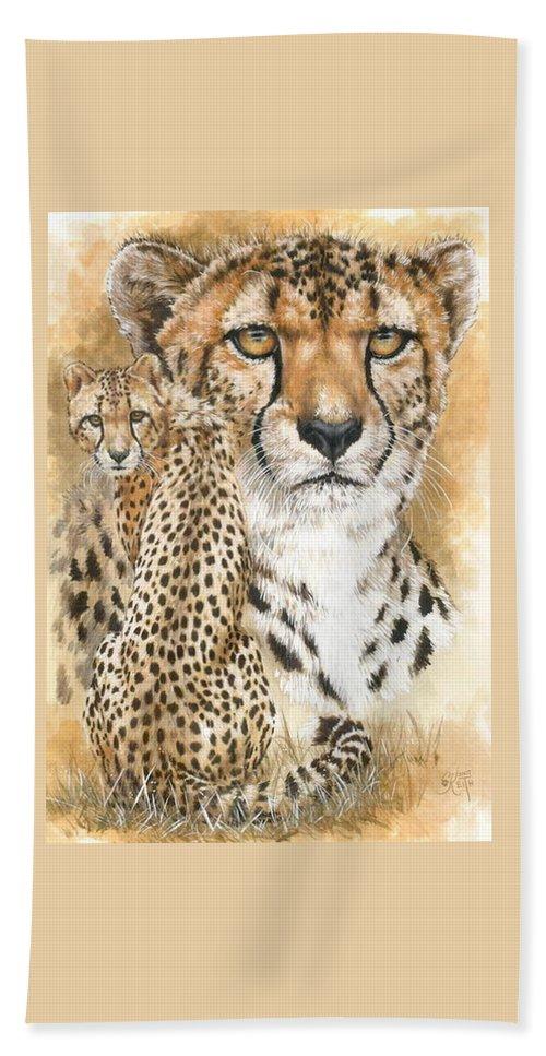 Cheetah Beach Towel featuring the mixed media Nimble by Barbara Keith