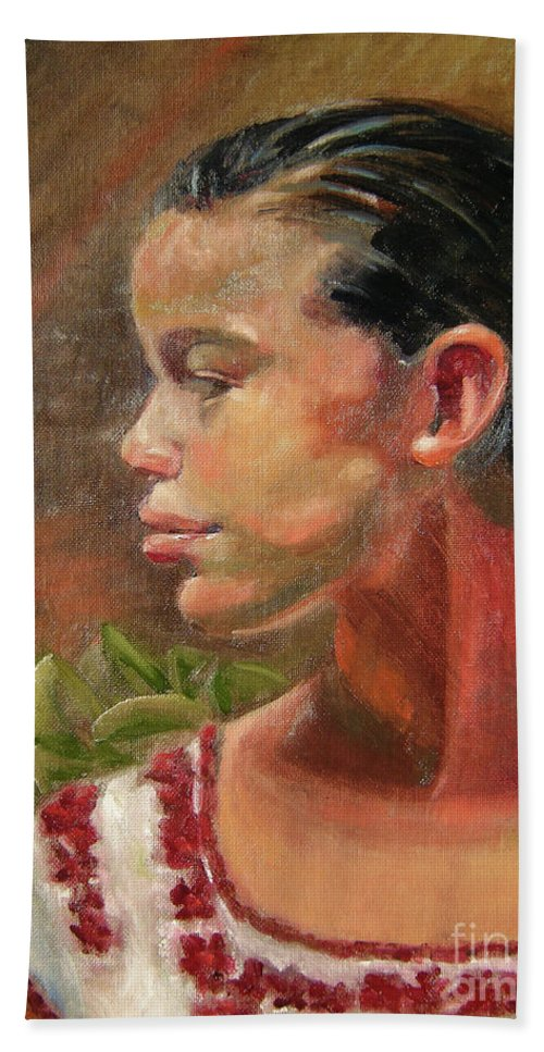 Mexico Beach Towel featuring the painting Nina de Trenza by Lilibeth Andre