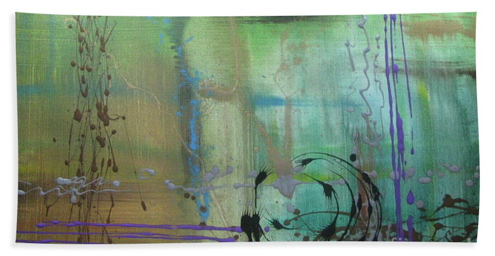Abstract Beach Towel featuring the painting No. 169 by Jacqueline Athmann