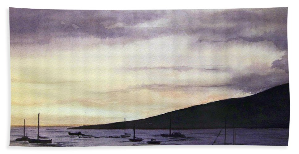 Seascape Beach Towel featuring the painting No Safer Harbor Lahaina Hawaii by Brenda Owen