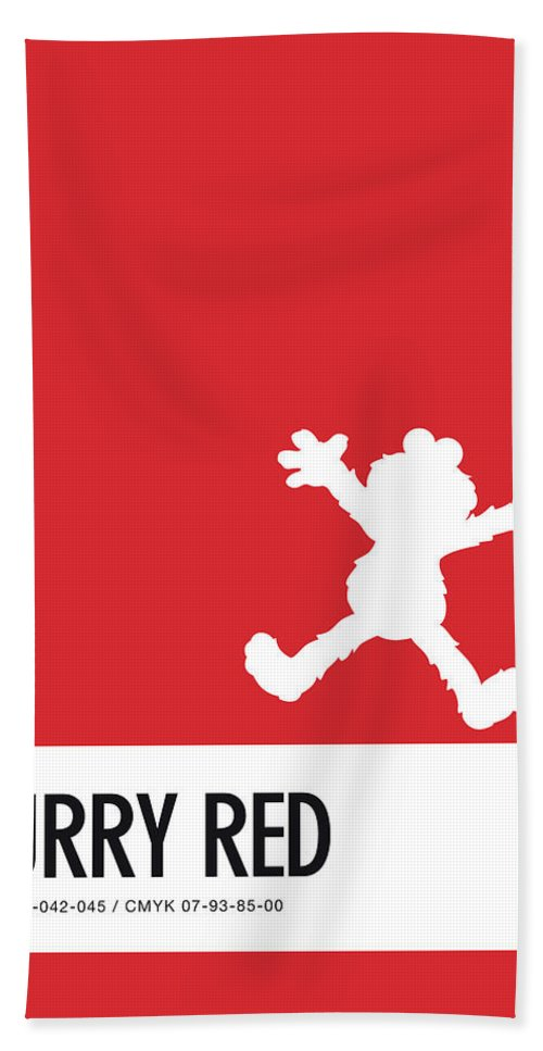 Beach Towel featuring the digital art No30 My Minimal Color Code Poster Elmo by Chungkong Art
