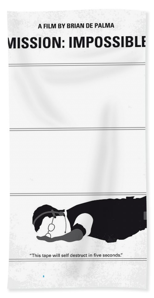 Mission Beach Towel featuring the digital art No583 My Mission Impossible Minimal Movie Poster by Chungkong Art