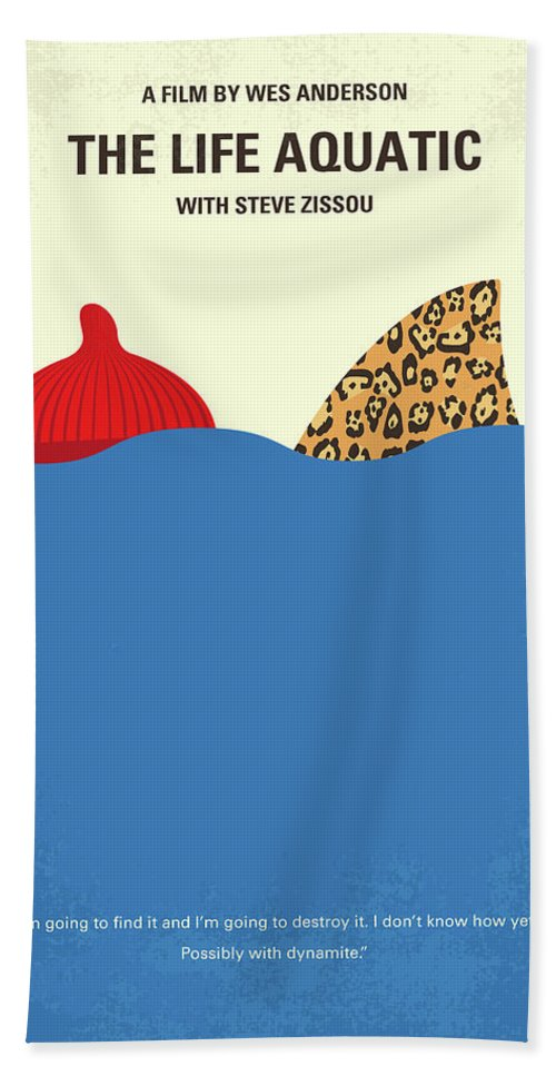 The Beach Sheet featuring the digital art No774 My The Life Aquatic With Steve Zissou Minimal Movie Poster by Chungkong Art