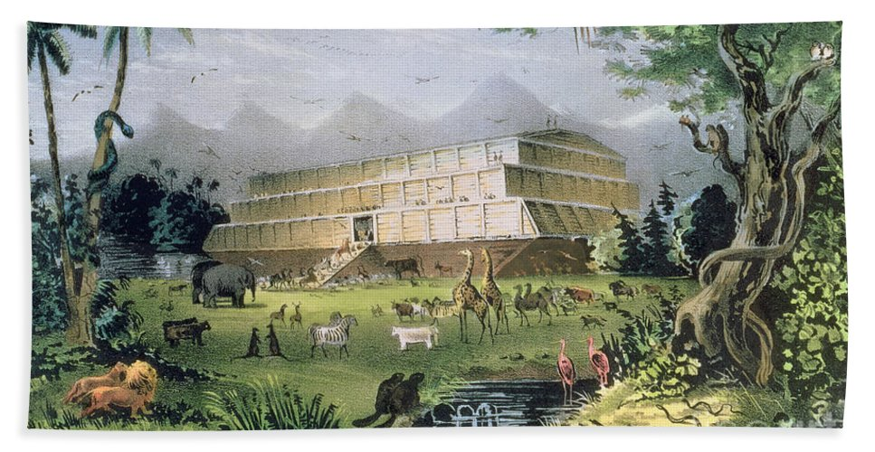 Noah's Ark Beach Towel featuring the painting Noahs Ark by Currier and Ives