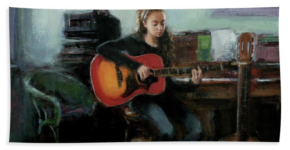 Music Beach Towel featuring the painting Nora by Sarah Yuster