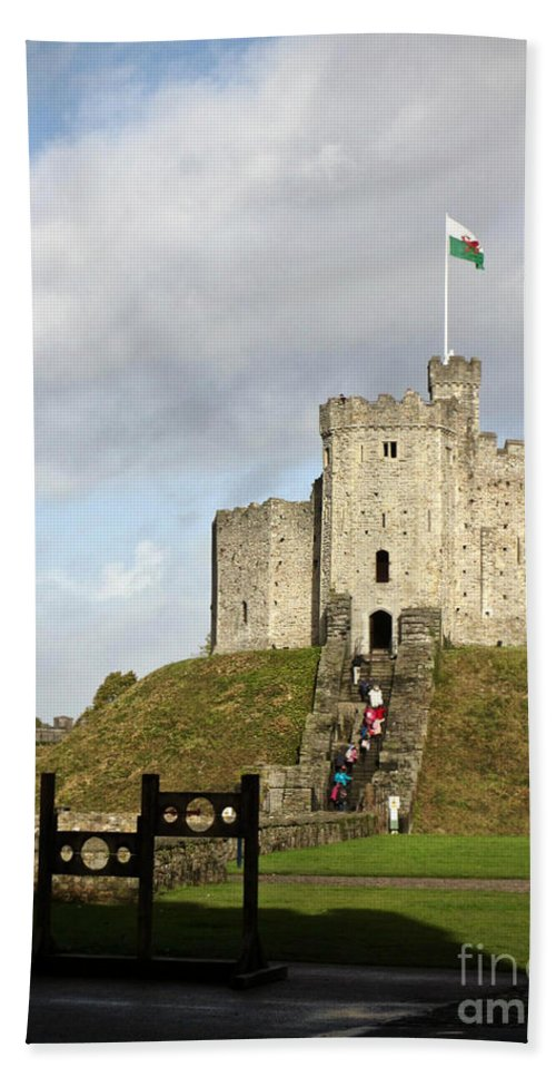 Cardiff Beach Towel featuring the photograph Norman Keep At Cardiff Castle by Rachel Morrison