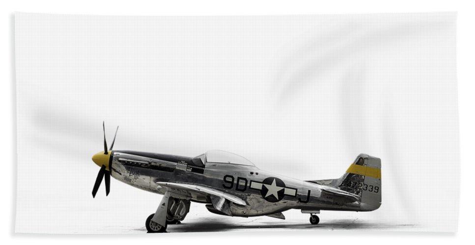 P-51 Mustang Beach Towel featuring the digital art North American P-51 Mustang by Douglas Pittman