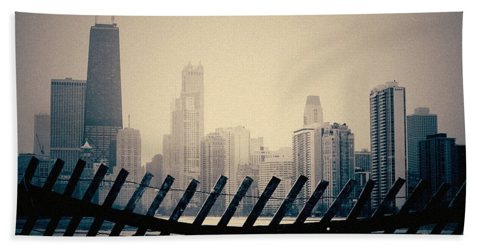 Chicago Beach Towel featuring the photograph North Avenue Beach Chicago Skyline by Kyle Hanson