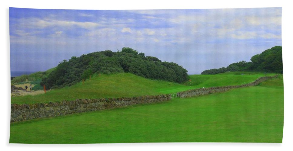 Scotland North Berwick West Links Photo Photograph Shot Image Picture Wall The Pit Par Four 4 Thirteen 13 Gorse Beach Links Course Famous Sand Bunkers Blue Skies Green Pin Flag Red Firth Of Forth East Lothian Courses Golf Ancient Print Prints Rock North Berwick Beach Towel featuring the photograph North Berwick Golf Club Hole #13 by Scott Carda