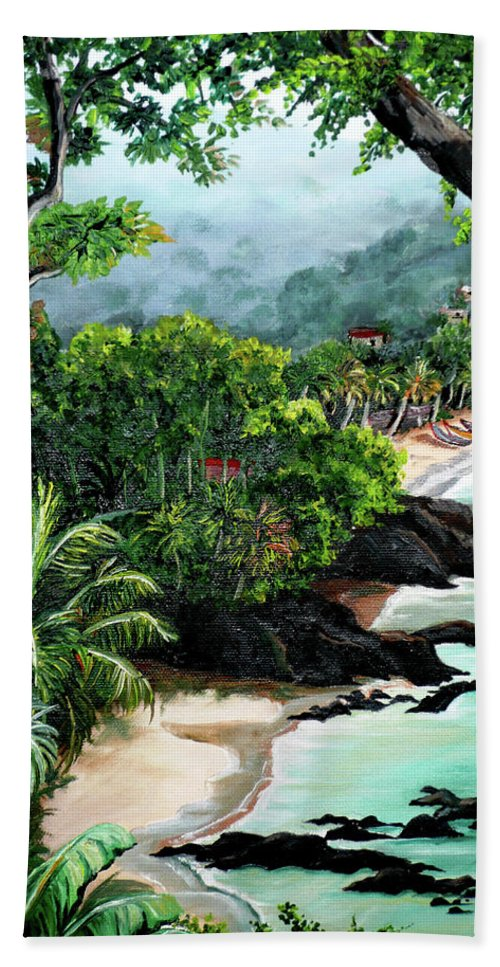 Caribbean Painting Tropical Painting Beach Towel featuring the painting North Coast Tobago by Karin Dawn Kelshall- Best